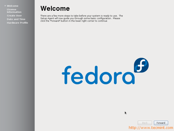 Fedora 17 Welcome Screen