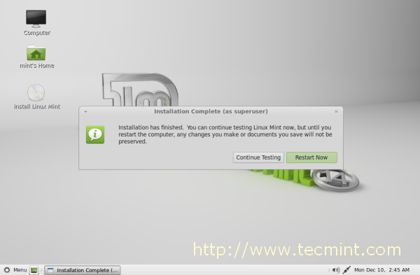 Linux Mint 14 Installation Completed