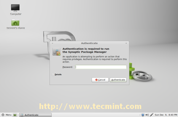Synaptic Package Manager Password
