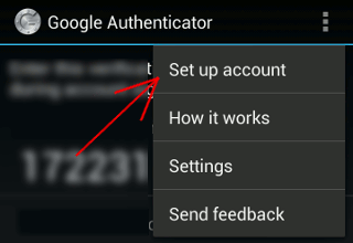 Google Authenticator设置帐户