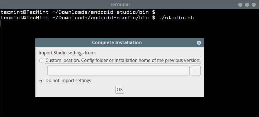 在Linux中运行Android Studio