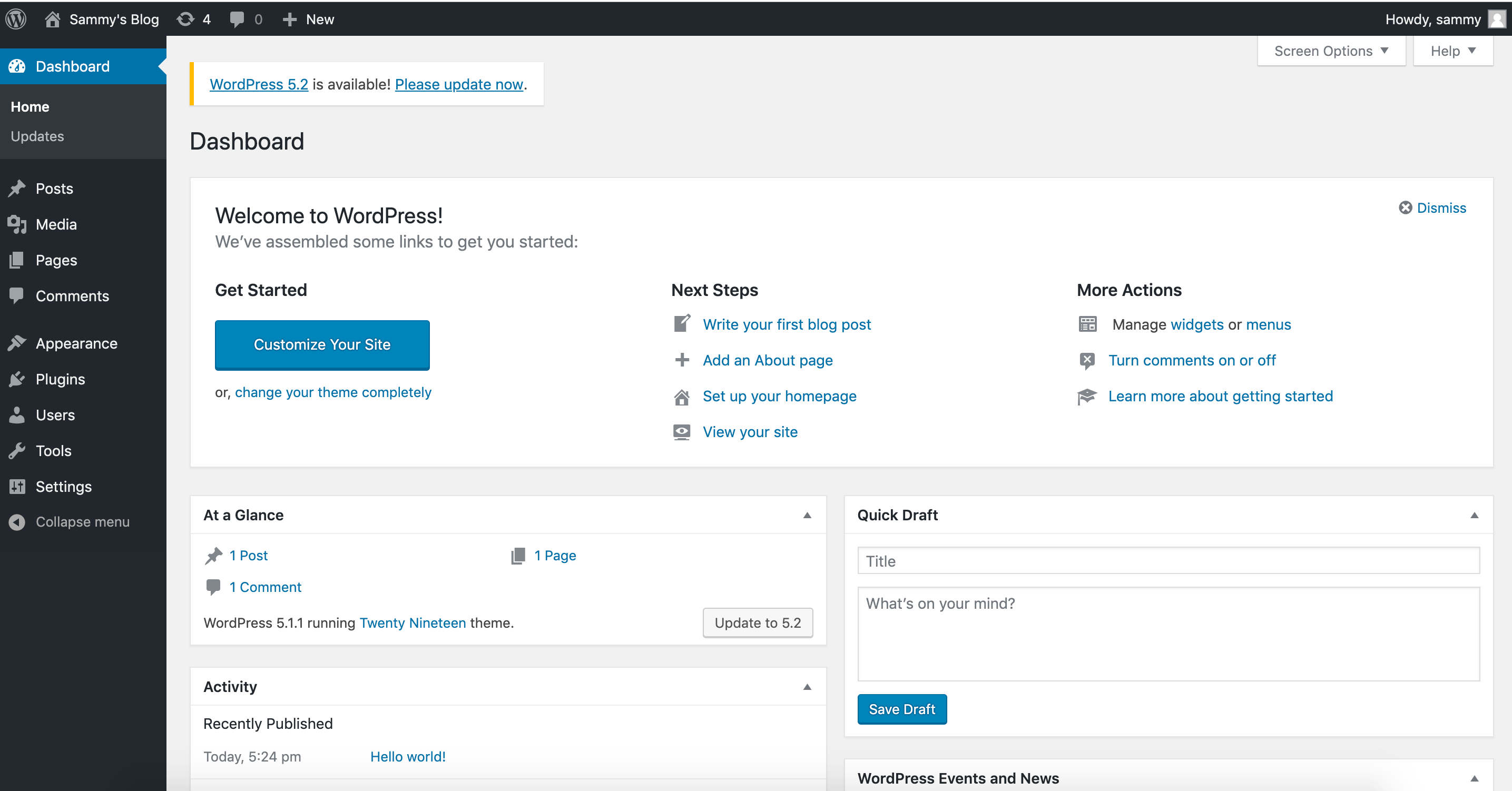 WordPress Main Admin Dashboard