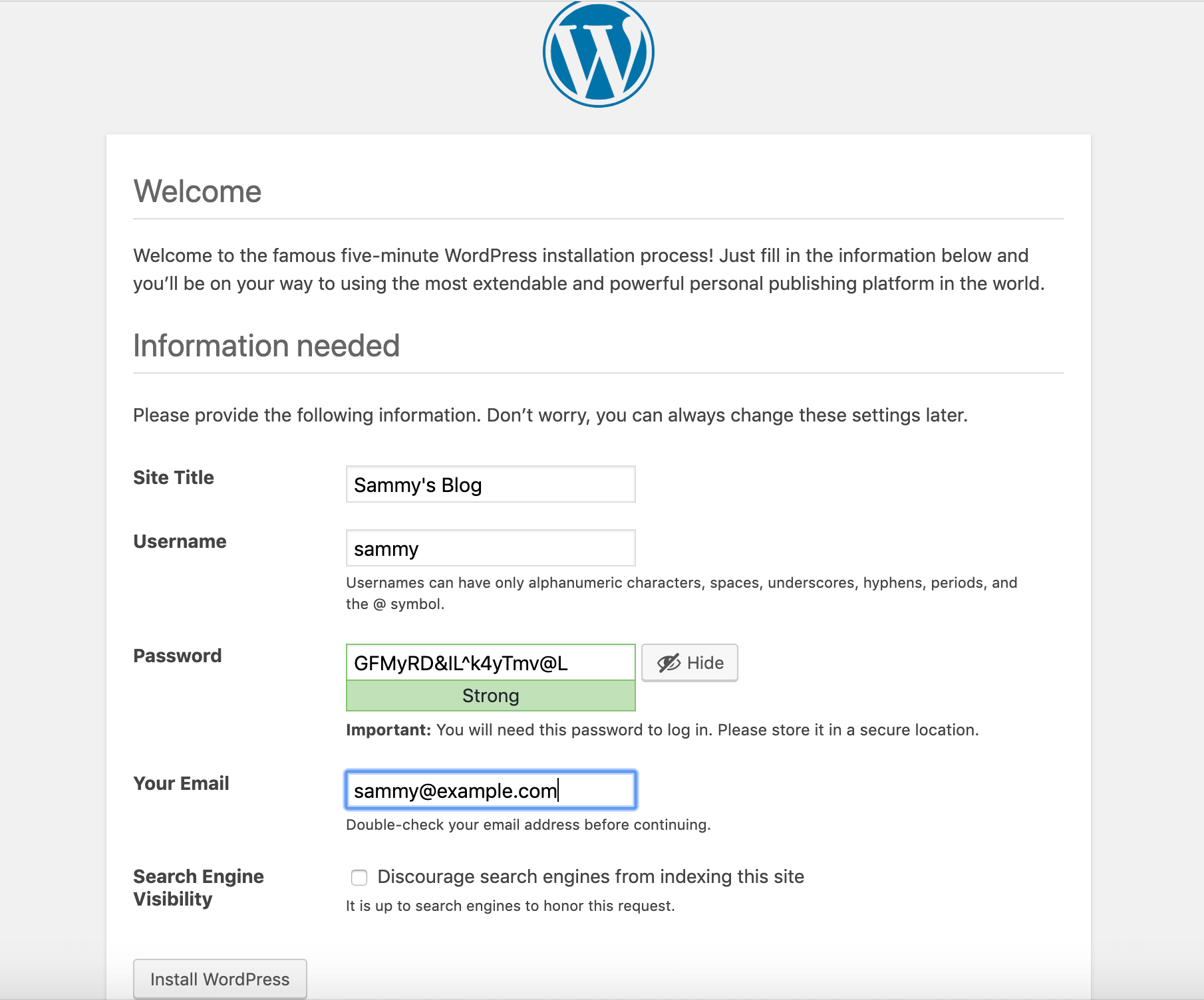 WordPress Main Setup Page