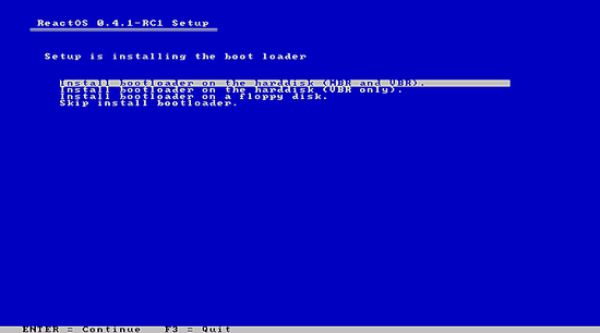 选择ReactOS Boot loader的位置